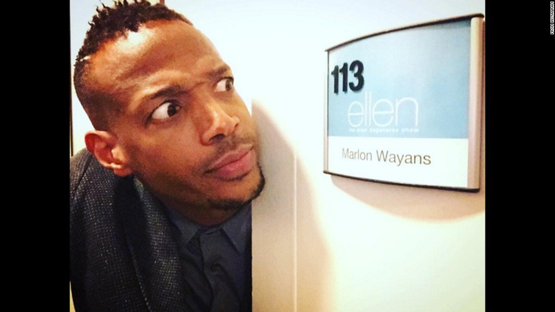 "Actor Marlon Wayans takes a photo outside his dressing room before appearing on ""The Ellen DeGeneres Show"" on Thursday, January 7. ""Watch me on @theellenshow today promoting #FiftyShadesofBlack,"" <a href=""https://www.instagram.com/p/BAPgHB_ujVJ/?taken-by=marlonwayans"" target=""_blank"">Wayans said on Instagram.</a>"