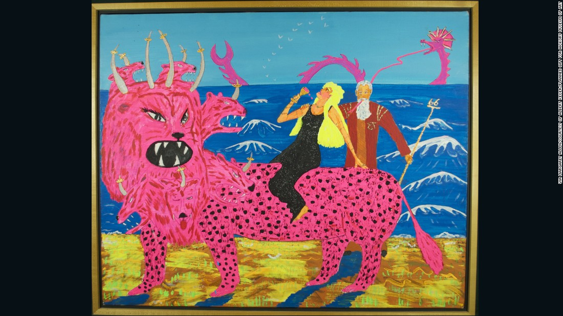 Folk artist Robert Roberg's 1991 image appeared on the front cover of the New York Times in 2005. The Whore, astride the neon-pink Beast, downs a glass of red wine while a shocked-looking elderly John looks on in amazement. This image is a playful attempt to satirize the materialism and sexual immorality that fundamentalist Christians find pervasive in contemporary American society.