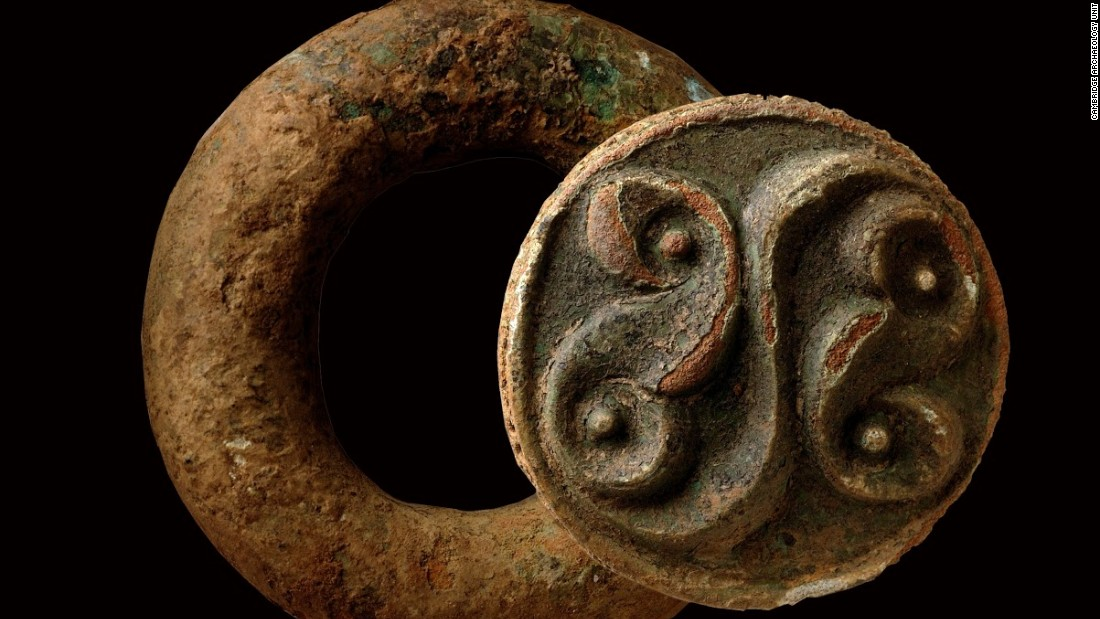 Late Iron Age baldric ring with La Tène style decoration, probably part of a shoulder belt for carrying a sword.