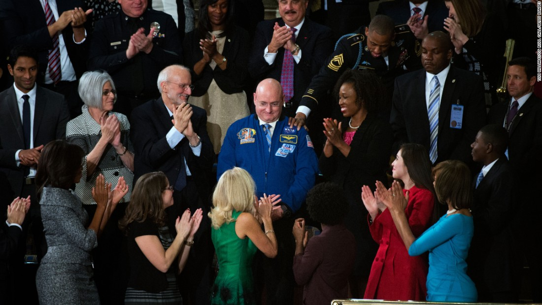 Astronaut Scott Kelly is recognized in the House chamber during Obama's State of the Union address in 2015.