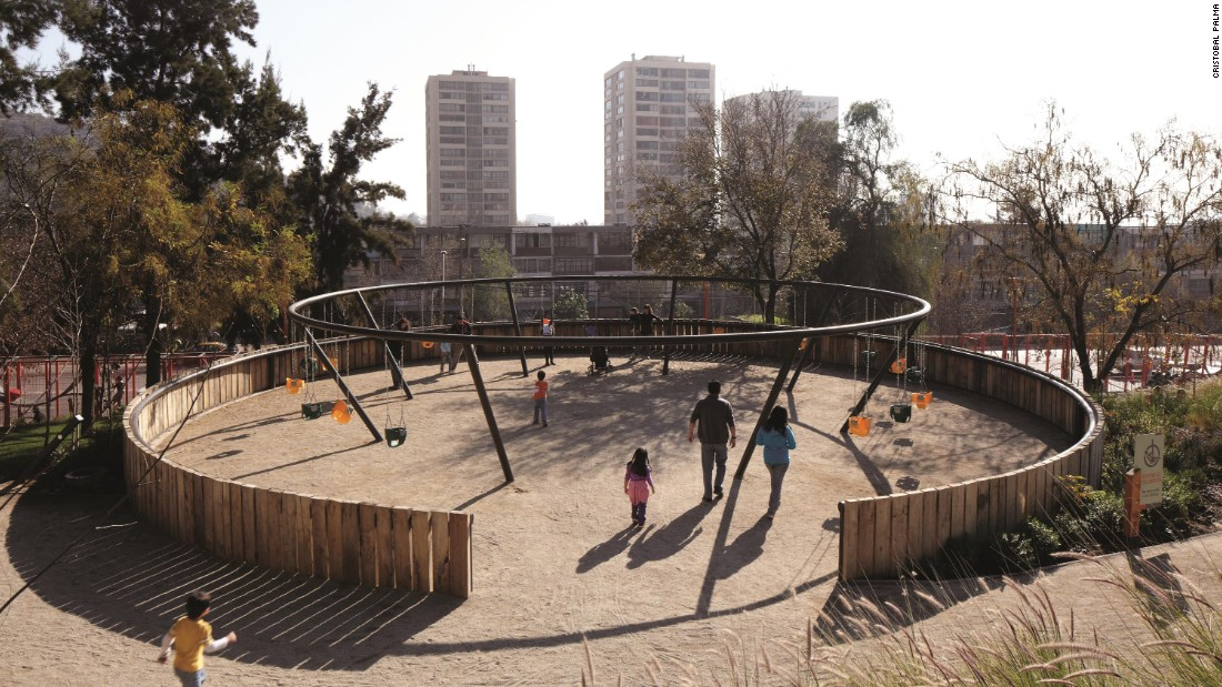 A four-hectare Children's Park on a hillside, part of a program to celebrate the bicentennial of Chile.