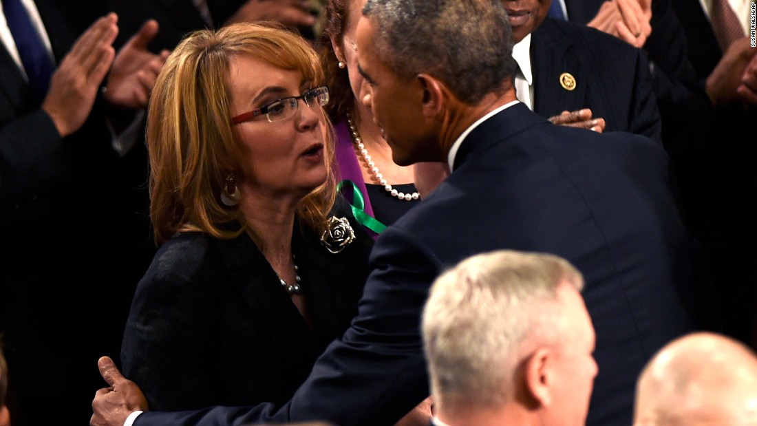 Obama greets former Arizona Rep. Gabrielle Giffords.