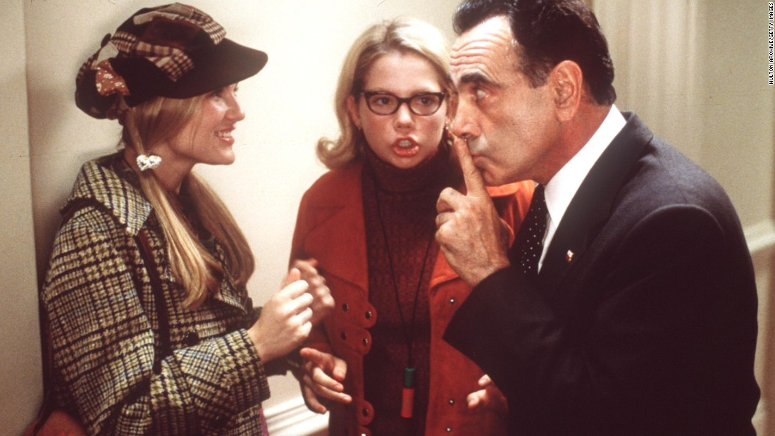 "Dan Hedaya plays Richard Nixon in 1999's ""Dick."" Two young girls (Kirsten Dunst, left, and Michelle Williams) act as Deep Throat in this parody of the Watergate scandal."