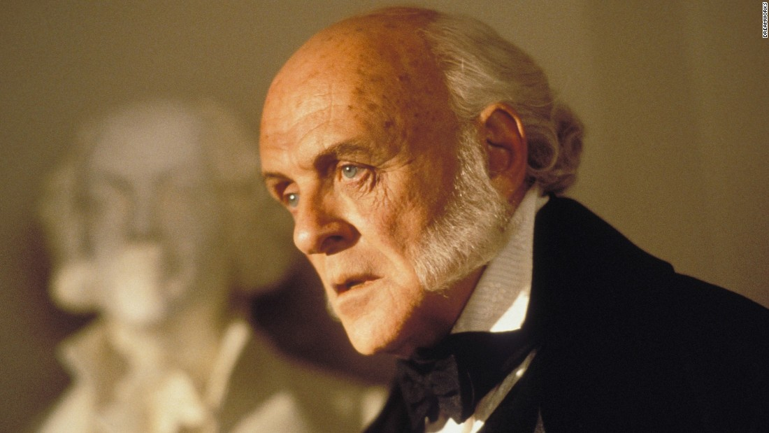 "Anthony Hopkins plays John Quincy Adams in 1997's ""Amistad,"" directed by Steven Spielberg. Hopkins' portrayal earned him an Academy Award nomination for best actor in a supporting role. The actor also played Richard M. Nixon in 1995's ""Nixon."""