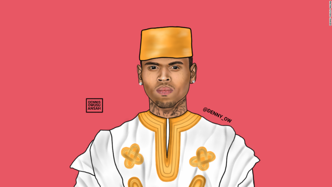 Owusu-Ansah has renamed Chris Brown Chris Kofi Sarpong Brown. He is highlighting the beauty of Africa through his current pop art of famous personalities.