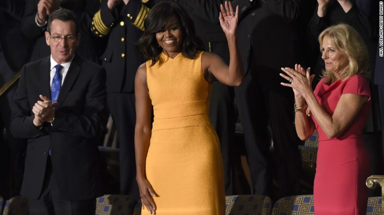 President Obama made headlines with his final State of the Union address on Tuesday, January 12, but it was Michelle Obama who was trending on Facebook afterward. The first lady wore a marigold dress by designer Narciso Rodriguez that sold out online before her husband's speech was over. Here's a look at some of her other fashion choices.