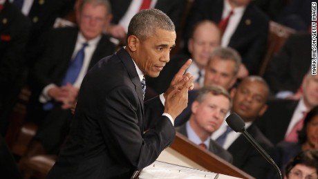WASHINGTON, DC - JANUARY 12:  U.S. President Barack Obama gestures as he delivers the State of the Union speech before members of Congress in the House chamber of the U.S. Capitol January 12, 2016 in Washington, DC. In his last State of the Union, President Obama reflected on the past seven years in office and spoke on topics including climate change, gun control, immigration and income inequality.  (Photo by Mark Wilson/Getty Images)