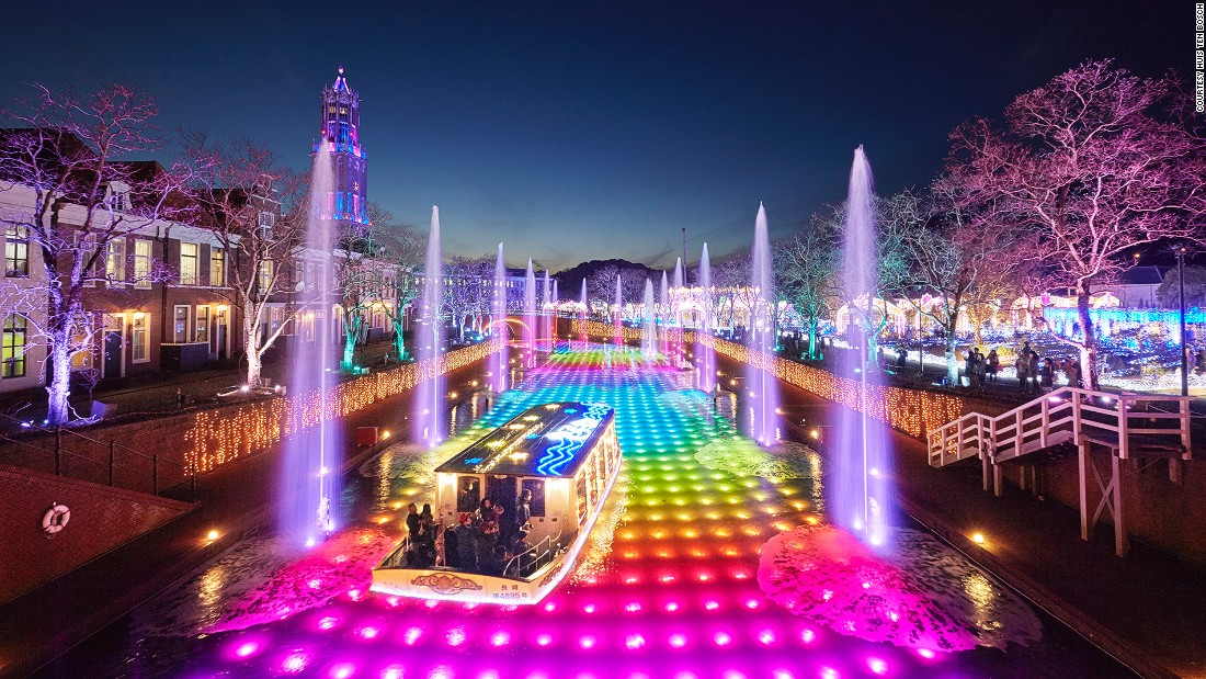 There's a neon boat that rides over Technicolor water. A 3D mapping show is also a big hit.
