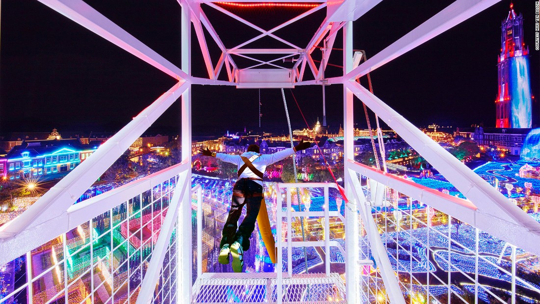 For more old-school thrills, there's also the illuminated bungee jump.