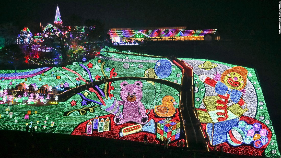 Intricate, field-sized portraits constructed out of lights are a main highlight in the park.