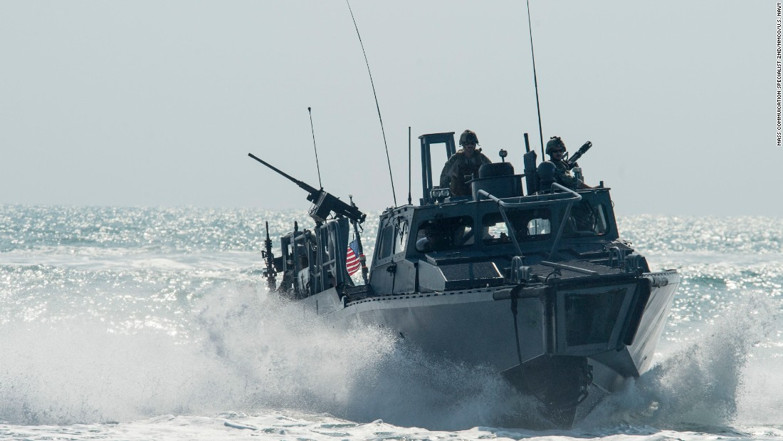 "A U.S. riverine command boat patrols the Persian Gulf on November 2. The U.S. sailors <a href=""http://www.cnn.com/2016/01/13/politics/iran-us-sailors/index.html"" target=""_blank"">recently detained by Iran</a> were on riverine command boats."