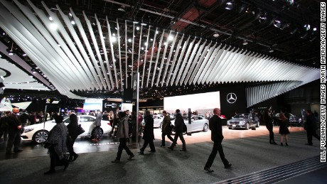 The Mercedes-Benz exhibit at the 2016 North American International Auto Show.