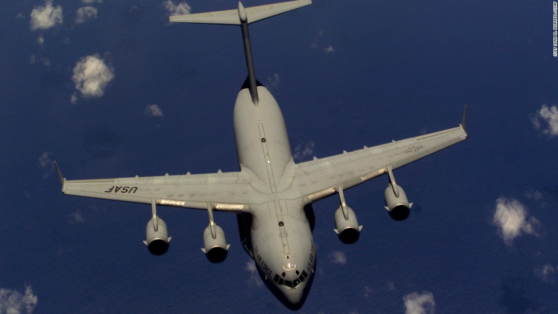 The four-engine jet joined the Air Force fleet in 1993 with a primary mission of troop and cargo transport. Each plane can carry up to 102 troops or 170,900 pounds of cargo. The Air Force has 187 C-17s on active duty, 12 in the Air National Guard and 14 in the Reserve.