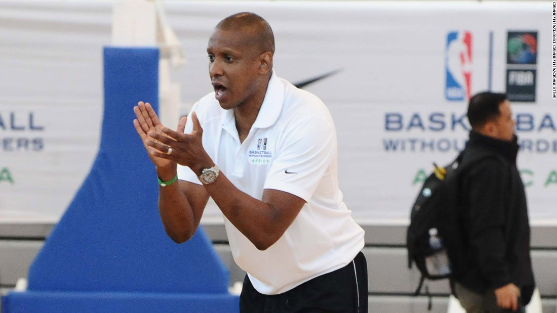 Raptors president and GM Masai Ujiri -- who was born in Nigeria -- relishes his role as the leader of a diverse team, and says the NBA will eventually feature many Africa-born players. He is pictured at the Basketball Without Borders Africa camp in Johannesburg, South Africa, June 2015.