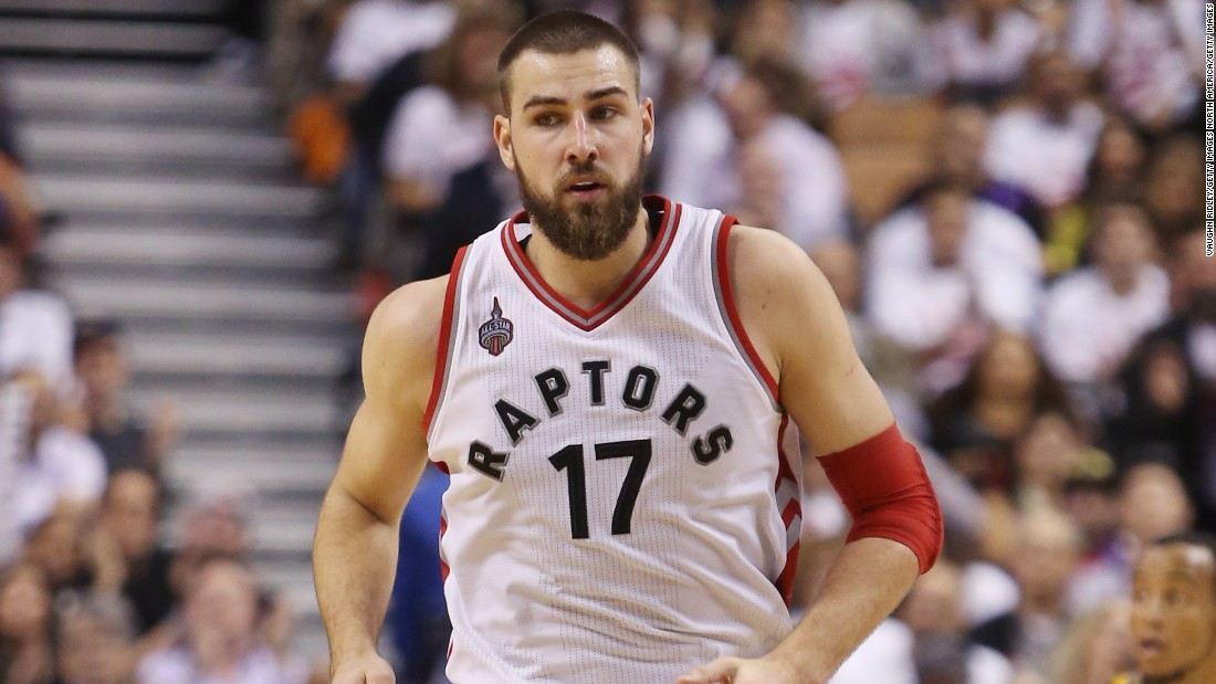 Lithuanian Jonas Valanciunas (#17) is one of seven non-Americans on the Raptors' roster -- leading the NBA for international players.