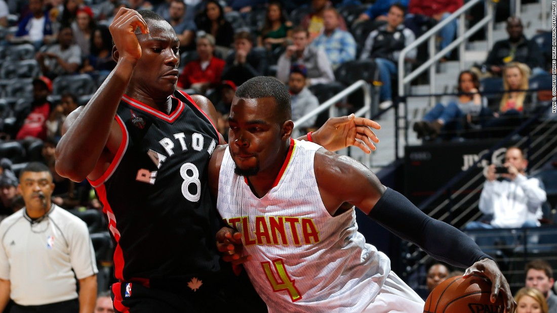 Congolese forward Bismack Biyombo (#8) of the Toronto Raptors is one of 10 African players in the NBA this season.