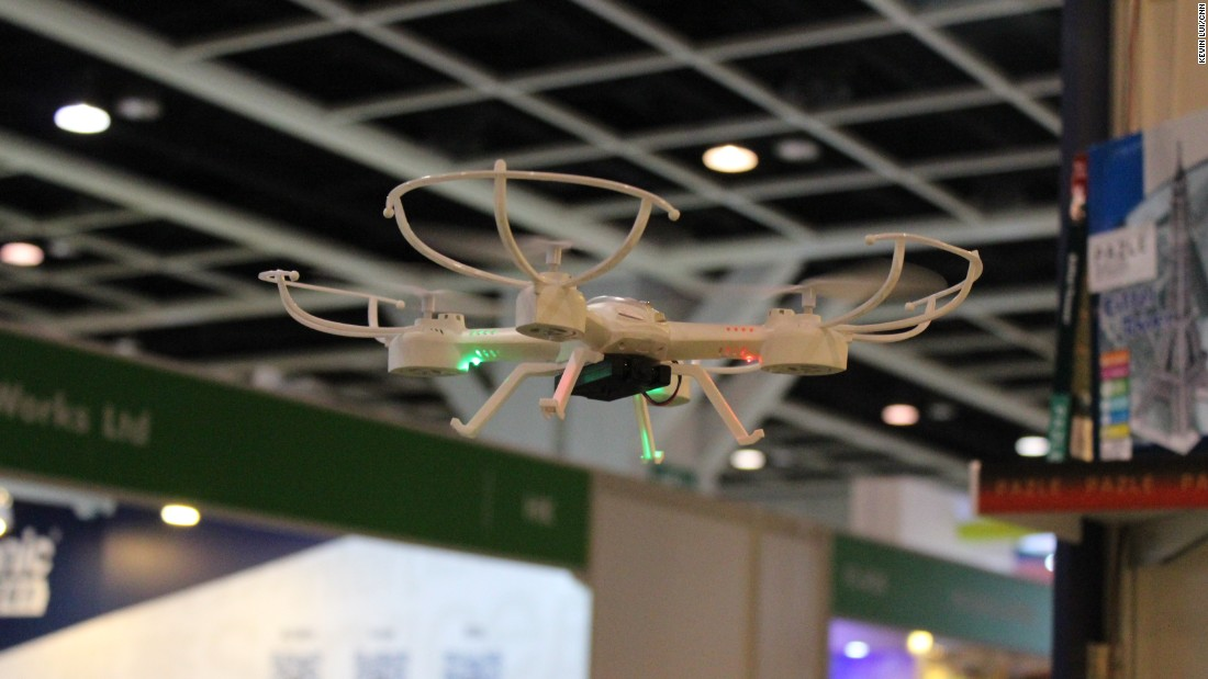 "Drones like this one took center stage at this year's Hong Kong Toys and Games Fair this week. No fewer than 40 manufacturers have brought their latest flying machines to the event, according to organizers. There is even a dedicated demonstration area for such ""flying objects"" inside the convention hall."