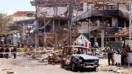 Aftermath of the 2002 Bali bombings, in which more than 200 people were killed.