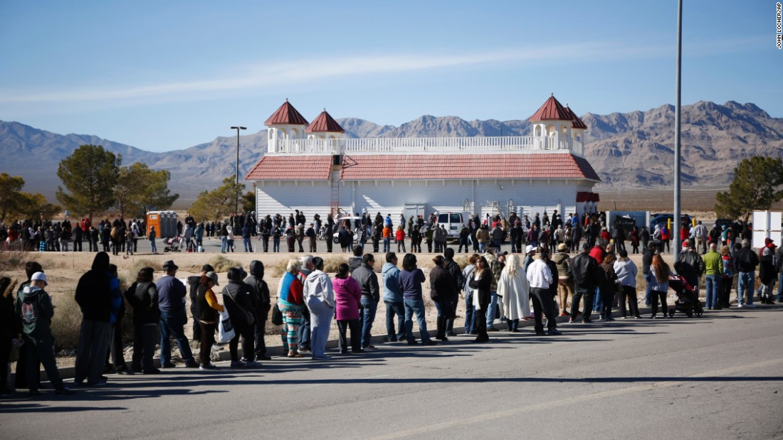 "People line up to buy Powerball tickets near Primm, Nevada, just inside the state of California, on Tuesday, January 12. <a href=""http://money.cnn.com/2016/01/13/news/powerball-winner-lottery/"" target=""_blank"">The $1.5 billion jackpot</a> was the largest lottery prize in history."