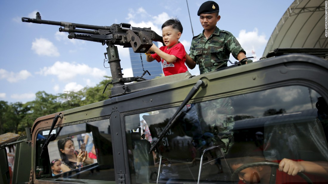 Children play in a military vehicle during Children's Day celebrations in Bangkok, Thailand, on Saturday, January 9.