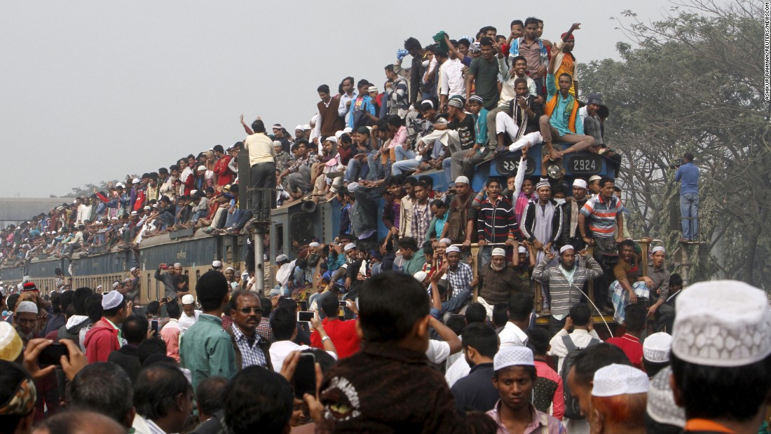 An overcrowded train leaves Dhaka, Bangladesh, after the final prayer of Bishwa Ijtema on Sunday, January 10. Millions of Muslims attended the three-day religious event.