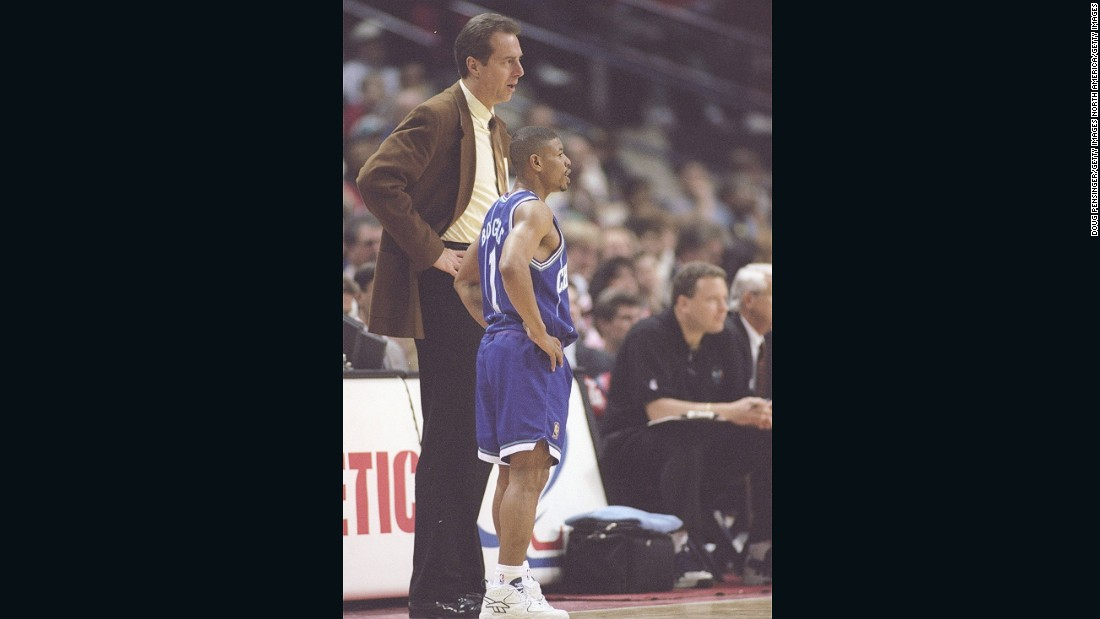Bogues stands alongside Charlotte Hornets coach Dave Cowens during a win over the Washington Bullets -- his first NBA team. Bogues was the No. 12 overall pick in the first round of the 1987 draft.