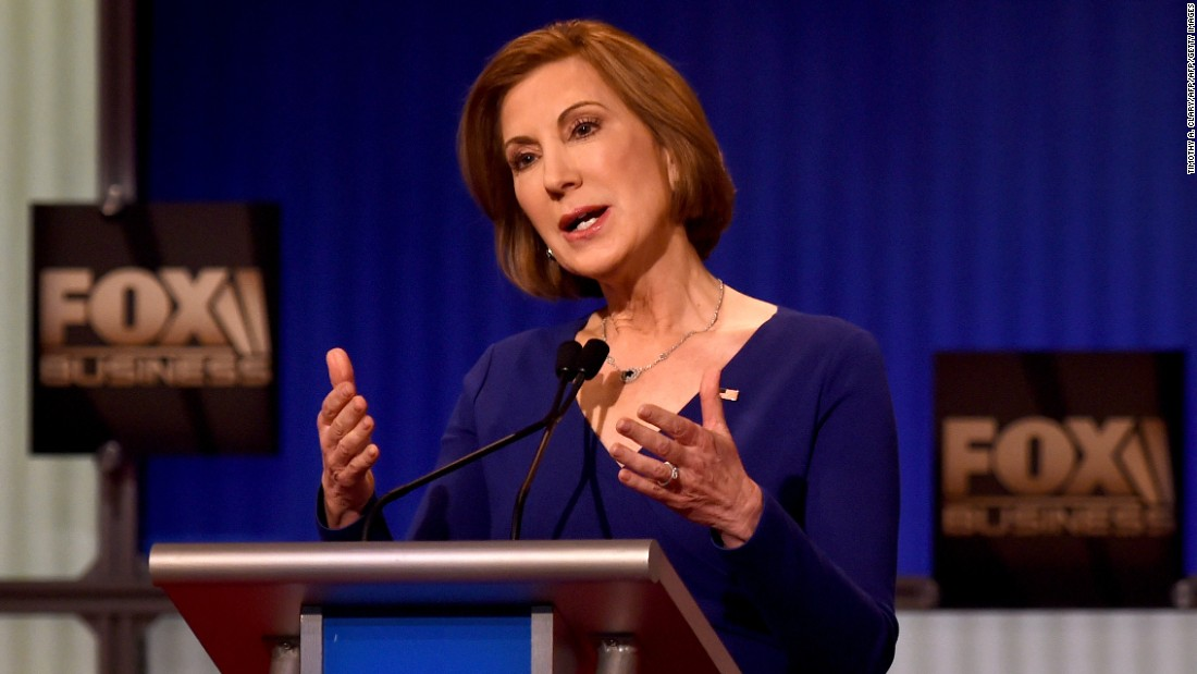 "Fiorina makes a point during the undercard debate. ""The state of our economy is not strong,"" she said in her opening comments. ""We have record numbers of men out of work. We have record numbers of women living in poverty. We have young people who no longer believe that the American dream applies to them. ... It's time to take our country back."""