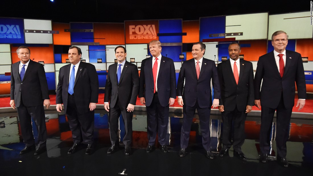 Republican presidential candidates line up on stage before a debate Thursday, January 14, in North Charleston, South Carolina. From left are Ohio Gov. John Kasich, New Jersey Gov. Chris Christie, U.S. Sen. Marco Rubio, Donald Trump, U.S. Sen. Ted Cruz, Ben Carson and Jeb Bush. It is the sixth GOP debate of this election cycle and the first of 2016.