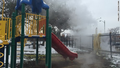 Students aren't allowed to use the playground. It's too hot because of steam wafting onto it.
