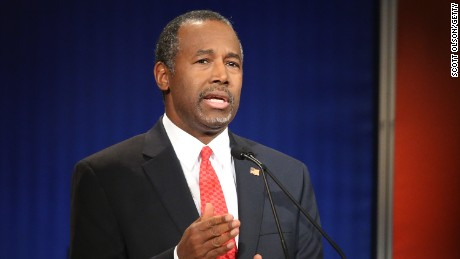 Ben Carson participates in the Fox Business Network Republican presidential debate at the North Charleston Coliseum and Performing Arts Center on January 14, 2016, in North Charleston, South Carolina.