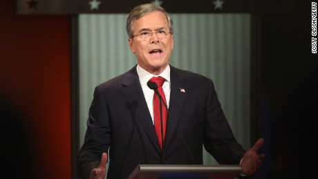 Jeb Bush participates in the Fox Business Network Republican presidential debate at the North Charleston Coliseum and Performing Arts Center on January 14, 2016, in North Charleston, South Carolina.