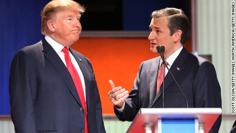 NORTH CHARLESTON, SC - JANUARY 14:  Republican presidential candidates (L-R) Donald Trump and Sen. Ted Cruz (R-TX) speak during a commercial break in the Fox Business Network Republican presidential debate at the North Charleston Coliseum and Performing Arts Center on January 14, 2016 in North Charleston, South Carolina. The sixth Republican debate is held in two parts, one main debate for the top seven candidates, and another for three other candidates lower in the current polls.  (Photo by Scott Olson/Getty Images)