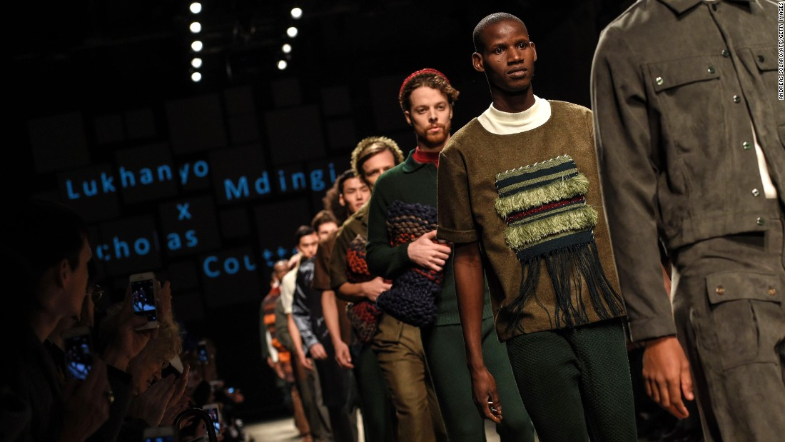 "As part of ""Generation Africa"" -- a collaboration between Fondazione Pitti Discovery and ITC Ethical Fashion Initiative -- a fashion show, held on Thursday January 14, featured the Autumn/Winter 2016 collections of four African-designed fashion brands: AKJP, Lukhanyo Mdingi x Nicholas Coutts (shown here), Ikiré Jones and U.mi-1."