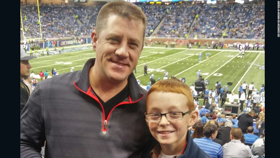 """Big"" Steve Engelman and his ""little"" 10-year-old mentee Seth just celebrated one year as a match with Big Brothers Big Sisters of Metropolitan Detroit. Steve says their pairing ""changed his life."" The two meet about every two weeks. In this photo, they went to a Detroit Lions game. ""He's really an amazing kid,"" says Engelman. ""He made the honor roll, perfect attendance and he's in the Cub Scouts."" Engelman says the two are currently designing a wooden car to race in a Cub Scout derby. ""I'm not there to be his father. I am there to be his cheerleader and expose him to new experiences."""