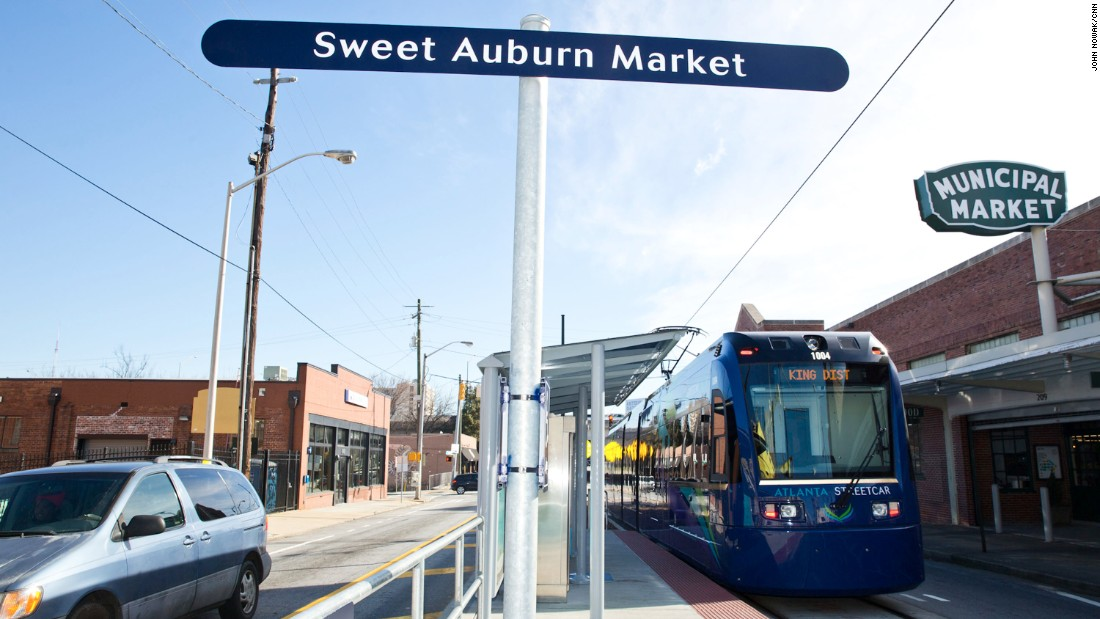 City officials hope a streetcar system that opened in late 2014 will bring new life to Sweet Auburn and Old Fourth Ward neighborhoods by creating a 2.7-mile loop between downtown hotels and convention centers to the King district, which includes the King Center, Ebenezer Baptist Church and Auburn  Avenue.