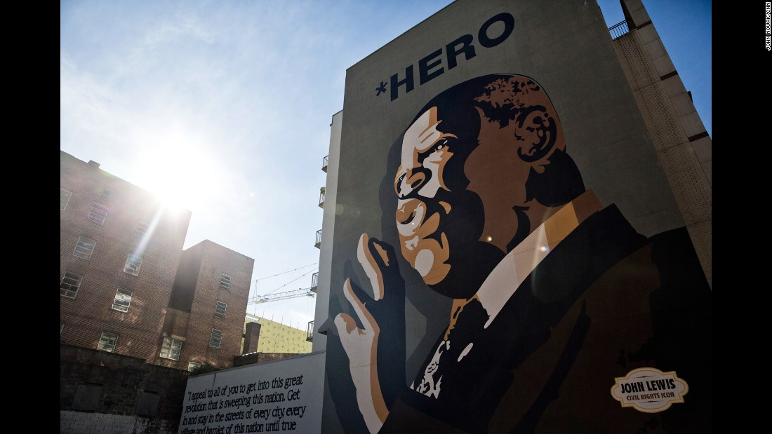This mural of Rep. John Lewis on Jesse Hill Jr. Drive and Auburn Avenue was completed in 2012. Lewis has been active in the civil rights movement and has been elected to Congress 14 times.