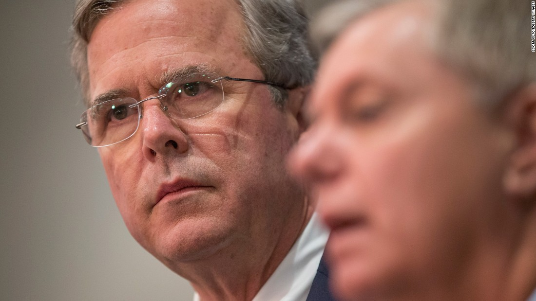 "U.S. Sen. Lindsey Graham, right, <a href=""http://www.cnn.com/2016/01/15/politics/lindsey-graham-jeb-bush-endorsement/"" target=""_blank"">announces his endorsement</a> of presidential candidate Jeb Bush, left, on Friday, January 15. Graham dropped out of the race last month."
