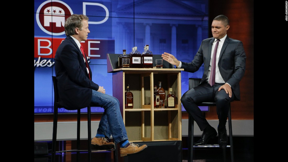 """Daily Show"" host Trevor Noah, right, talks with U.S. Sen. Rand Paul after taping a television segment on Wednesday, January 13. Paul, who is running for President, <a href=""http://www.cnn.com/2016/01/14/politics/republican-debate-rand-paul-media-skip/"" target=""_blank"">skipped this week's GOP debates</a> after he was relegated to the earlier ""undercard"" debate with lower-polling candidates. Instead, he went on a two-day media tour."