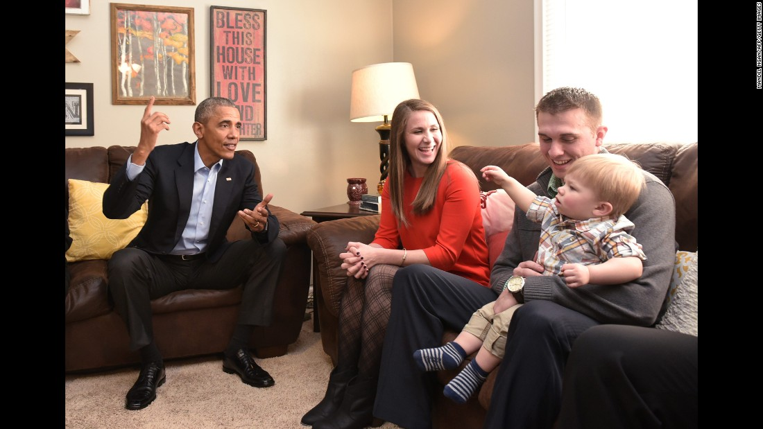 President Barack Obama visits the Omaha, Nebraska, home of Lisa and Jeff Martin on Wednesday, January 13. Lisa Martin had written a letter to Obama expressing concern about the future her son, Cooper, would grow up in.