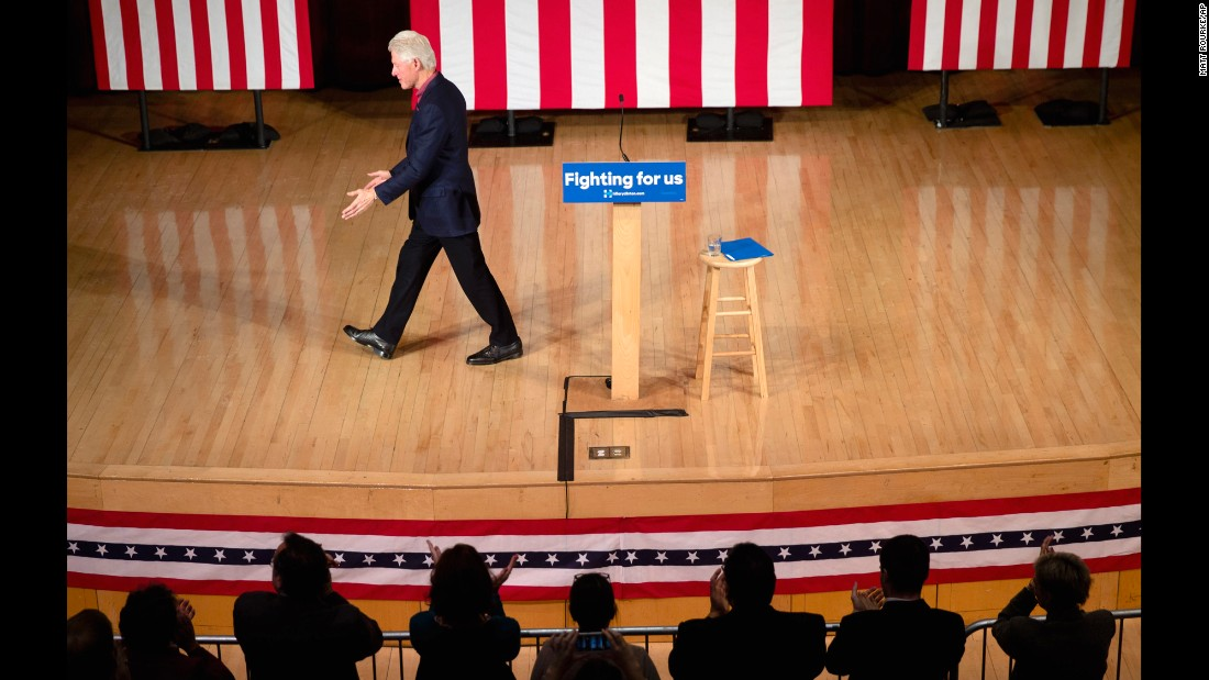 Former President Bill Clinton walks off the stage during a campaign stop for his wife Wednesday, January 13, in Keene, New Hampshire.