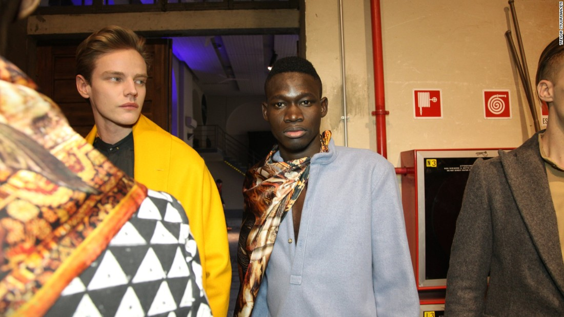 The young men, aged between 19 and 27, were cast as part of a project by the International Trade Centre's Ethical Fashion Initiative to showcase the work of African designers internationally.<em><br />Backstage at Ikiré Jones.</em>