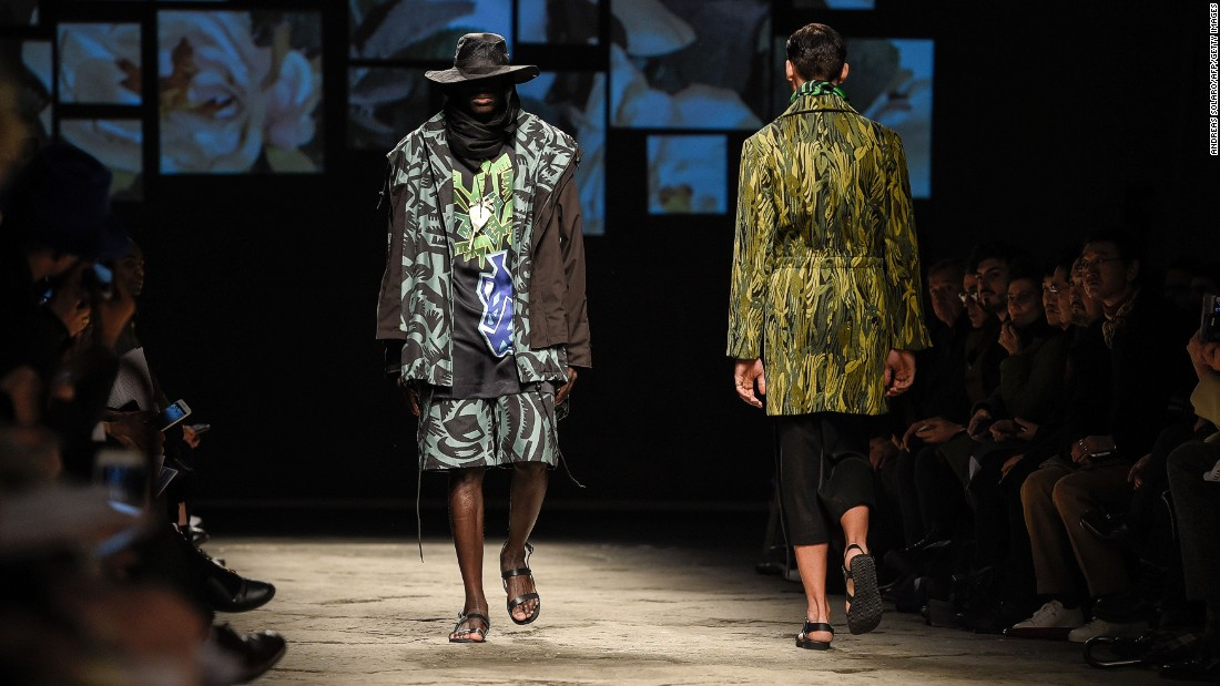 Farmers, construction workers, waiters or shopkeepers in their countries of origin, the men modeled for four African Designers, Ikiré Jones, Lukhanyo Mdingi x Nicholas Coutts, AKJP and U.Mi-1, all of whom showcased their Autumn/Winter 2016.<em><br />A<em></em> creation for fashion house AKJP.</em>