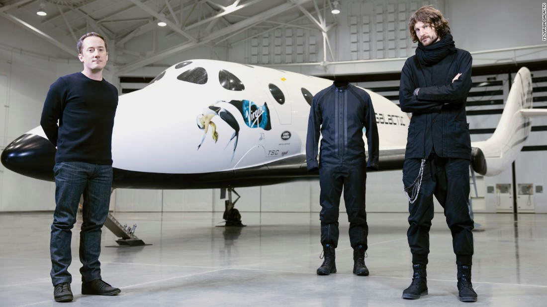 Lawrence Midwood (right), senior director of design at Y-3, and Adam Wells (left), head of design at Virgin Galactic revealed the prototypes on Thursday.