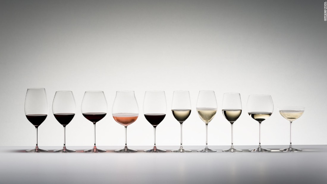 Glassware company Riedel tailors its gourmet collection (pictured above) to specific grape varieties.<br />