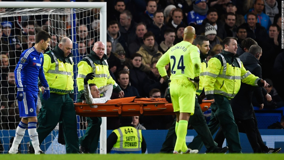Chelsea lost Costa with a shin injury while Everton defender Bryan Oviedo was stretchered off the pitch -- which contributed to seven minutes of injury time being added by referee Michael Jones.