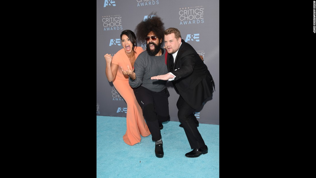 Gina Rodriguez, Reggie Watts and James Corden