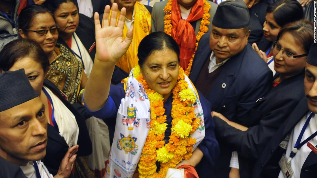 Bidhya Devi Bhandari is the first female President of Nepal. Nepal's parliament elected Bhandari in October 2015.