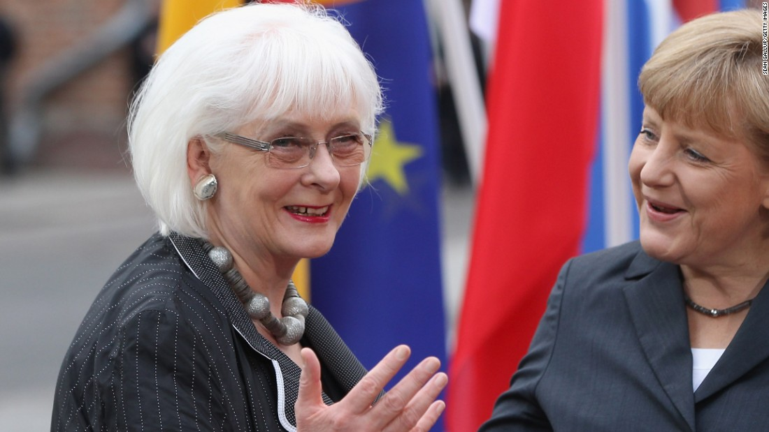 Jóhanna Sigurðardóttir, 73, left, is the former Prime Minister of Iceland. She is Iceland's first female to hold the position and the world's first openly lesbian head of government.