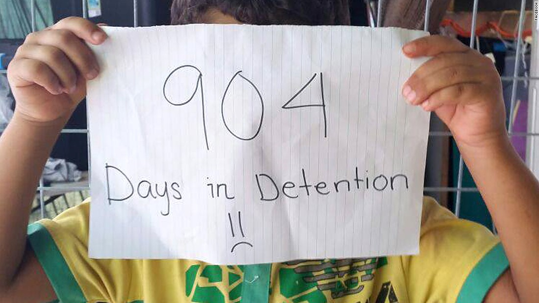 The children are being held on Nauru while their families' claims for asylum are processed. Many fled war-torn countries and entered Australian waters by boat. The Australian government says they'll never be resettled in the country.