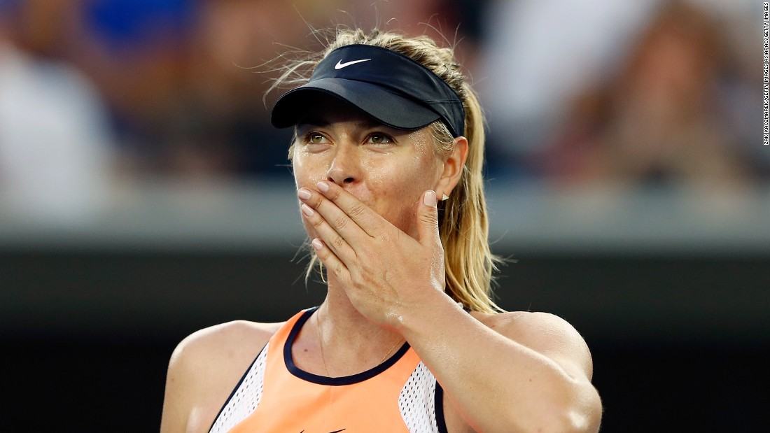 Last year's losing finalist Maria Sharapova celebrates after an easy victory in her first-round match against Japan's grand slam debutante Nao Hibino.